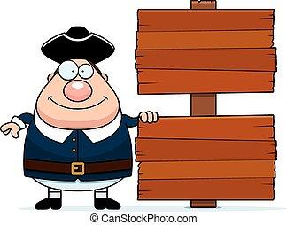 Cartoon Colonial Man Sign - A cartoon illustration of a ...