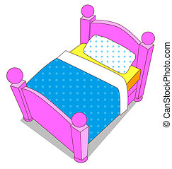 bed - cartoon color bed on the white background