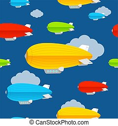 Cartoon Color Dirigible Seamless Pattern Background. Vector...