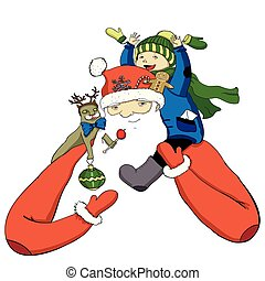 Cartoon color Santa with happy little boy