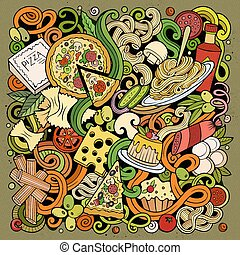Cartoon color vector doodles Italian Food illustration
