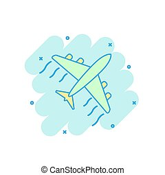 Cartoon colored airplane icon in comic style. Plane illustration pictogram. Aircraft splash business concept.