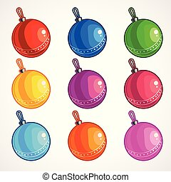 Cartoon colored balls for a Christmas tree. Vector illustration