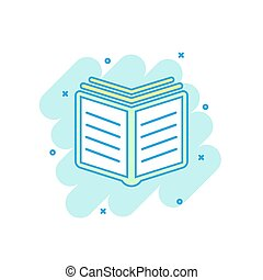 Cartoon colored book icon in comic style. Book illustration pictogram. Education splash business concept.