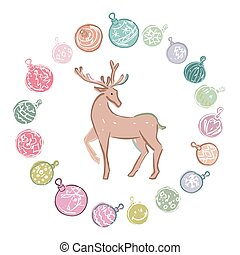Cartoon colored christmas decorations with reindeer