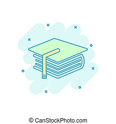 Cartoon colored education and book icon in comic style. Bachelor cap illustration pictogram. Education sign splash business concept.