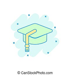 Cartoon colored education hat icon in comic style. Bachelor cap illustration pictogram. Education sign splash business concept.