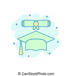 Cartoon colored graduation cap and diploma scroll icon in comic style. Education illustration pictogram. Celebration sign splash business concept.