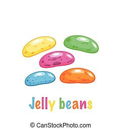Cartoon colored jelly beans, vector illustration