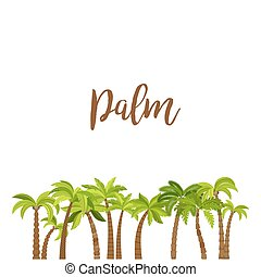 Cartoon colored palm trees forest