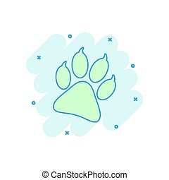 Cartoon colored paw print icon in comic style. Dog, cat, bear paw illustration pictogram. Pawprint sign splash business concept.