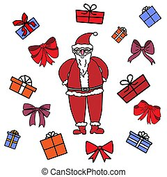 Cartoon colored Santa Clause with many multicolor gift boxes around him on a white background. For Christmas greeting Cards and invitations. Hand drawn doodle vector illustration.