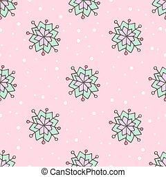 Cartoon colored snowflakes