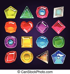 Cartoon colored stones with different shapes for use in the game