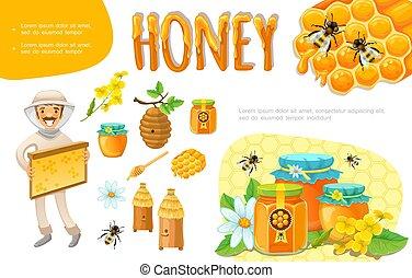 Cartoon Colorful Beekeeping Elements Set