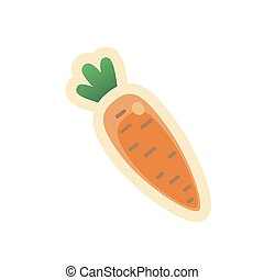 Cartoon colorful carrot icon in flat style