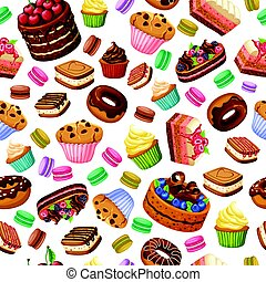 Cartoon Colorful Desserts Seamless Pattern