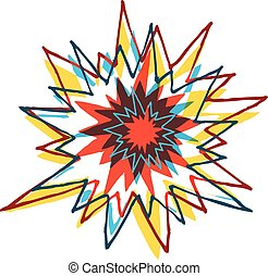 Cartoon colorful explosion or ornament