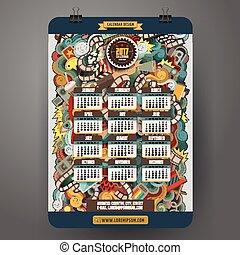Cartoon colorful hand drawn doodles Cinema 2017 year calendar template.