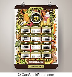 Cartoon colorful hand drawn doodles Diet 2018 year calendar