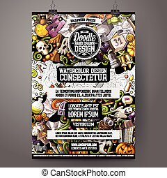 Cartoon colorful hand drawn doodles Halloween poster template