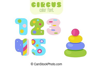 Cartoon colorful numbers 1, 2, 3, 4, 5 and pyramid toy
