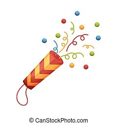 Cartoon colorful petard confetti salute. vector illustration