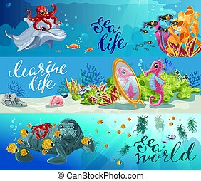 Cartoon Colorful Sea Animals Horizontal Banners