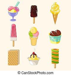 Cartoon Colorful Tasty Ice Creams Set