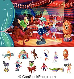 Cartoon Colorful Traveling Circus Composition