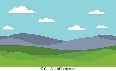 Cartoon colorful vector flat illustration of mountain landscape with meadow under blue sky