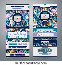 Cartoon colorful vector hand drawn doodles design Sea life vertical banners