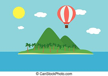 Cartoon colorful vector illustration of a mountain landscape
