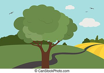 Cartoon colorful view of meadows and field around the road with bushes and tree with leaves under a clear sky with clouds and flying birds in summer or autumn day, suitable for vacation - vector illustration