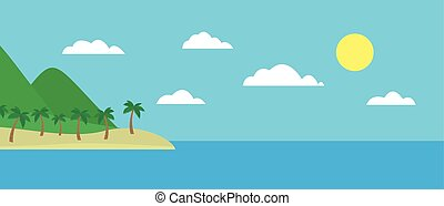 Cartoon colorful view of tropical island with beach under hills, mountains and palms in the middle of blue sea under clear sky with clouds and sun on summer day, suitable for holiday card