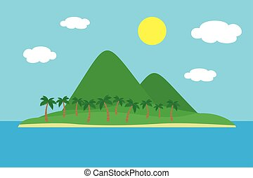 Cartoon colorful view of tropical island with beach under hills, mountains and palms in the middle of blue sea under clear sky with clouds and sun on summer day, suitable for holiday - vector