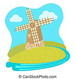 Cartoon colorful windmill vector illustration