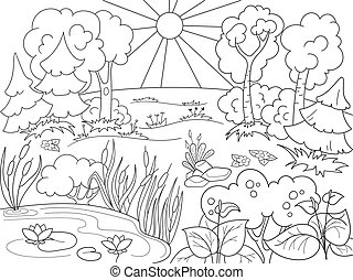 Cartoon coloring book black and white Nature. Glade in the...