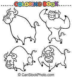 Bull - Cartoon Coloring Book - Bull