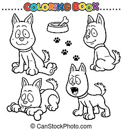 Dog - Cartoon Coloring Book - Dog