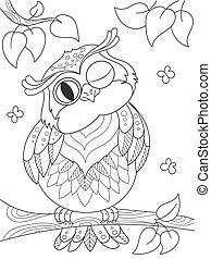 Cartoon coloring book. Funny owl on the tree. Black lines, white background