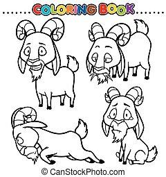 Goat - Cartoon Coloring Book - Goat