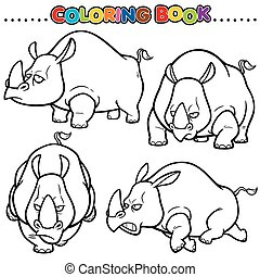 Rhinos - Cartoon Coloring Book - Rhinos