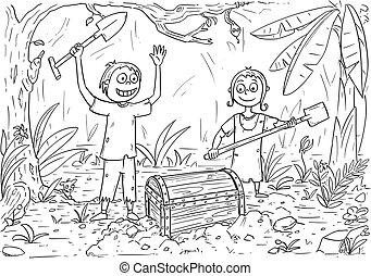 Cartoon Coloring Book with Boy and Girl Found a Treasure Chest