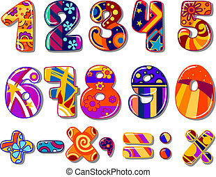 Cartoon colourful school numbers for mathematics or another...