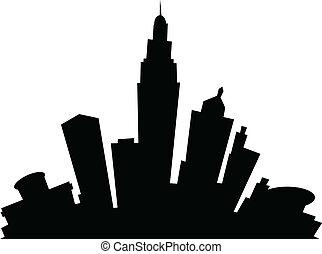 Cartoon Columbus - Cartoon skyline silhouette of the city of...