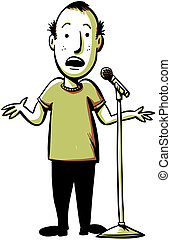 Cartoon Comedian - A cartoon comedian performs with a...