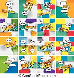 cartoon comic book template theme vector art illustration