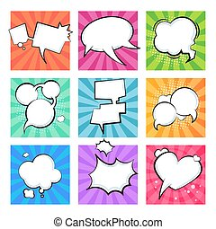 Cartoon comic bubbles. Speech retro balloons explosive cloud element text message shape comics balloon shapes. Vector text clouds set