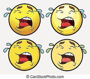 Crying Smiley Vector Set